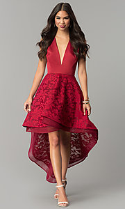 Satin High-Low Lace Party Dress with V-Neck Bodice