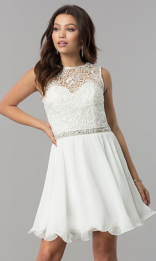Lace-Bodice Short Elizabeth K Homecoming Dress