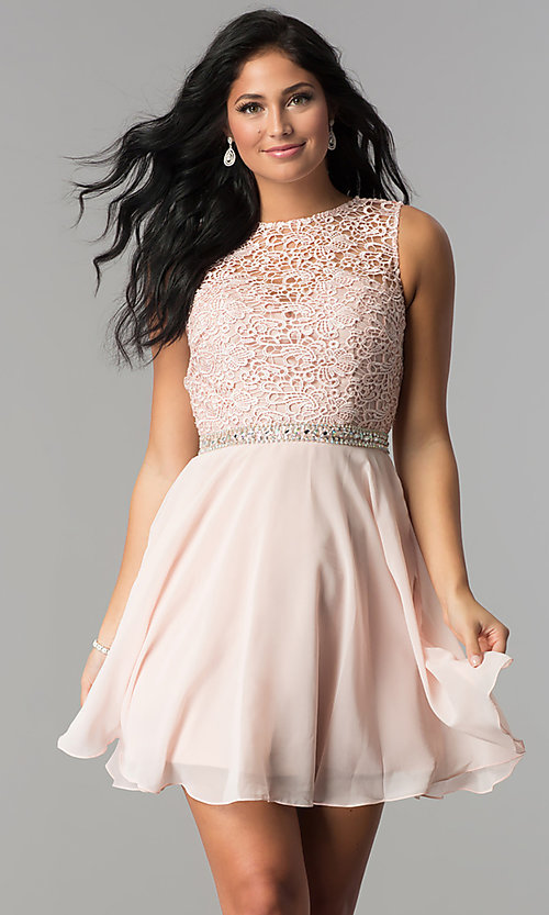 Image of lace-bodice short Elizabeth K homecoming dress. Style: FB-GS2410 Front Image