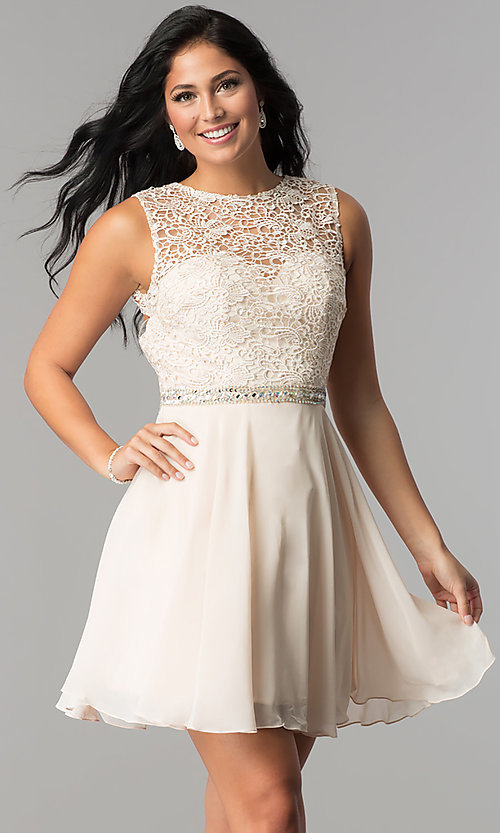 Image of lace-bodice short Elizabeth K homecoming dress. Style: FB-GS2410 Detail Image 2