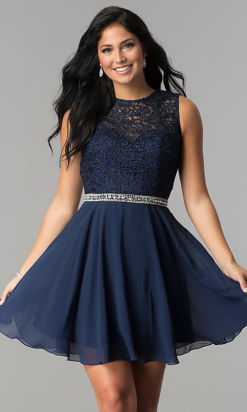 Image of lace-bodice short Elizabeth K homecoming dress. Style: FB-GS2410 Detail Image 1
