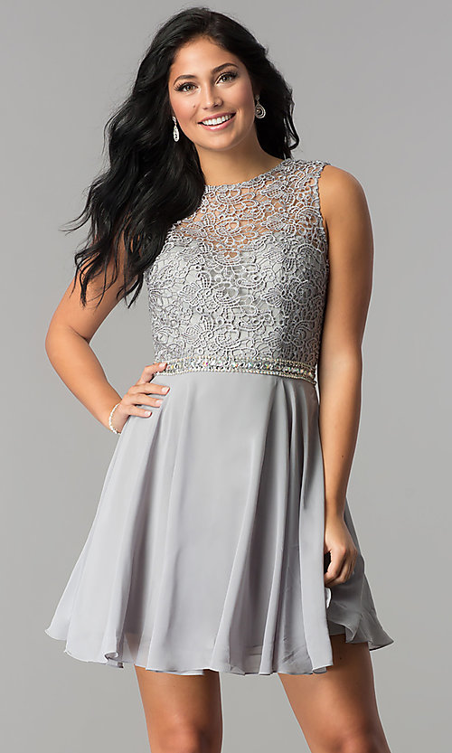 Image of lace-bodice short Elizabeth K homecoming dress. Style: FB-GS2410 Detail Image 3