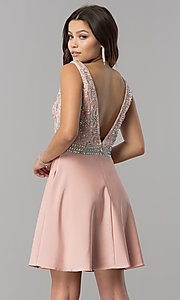 Image of short v-neck homecoming dress with jeweled bodice. Style: FB-GS2411 Back Image
