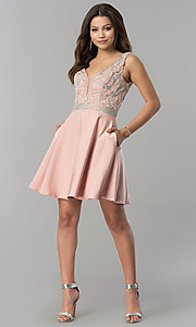 Image of short v-neck homecoming dress with jeweled bodice. Style: FB-GS2411 Detail Image 1
