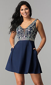Image of short v-neck homecoming dress with jeweled bodice. Style: FB-GS2411 Detail Image 2