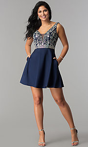 Image of short v-neck homecoming dress with jeweled bodice. Style: FB-GS2411 Detail Image 3