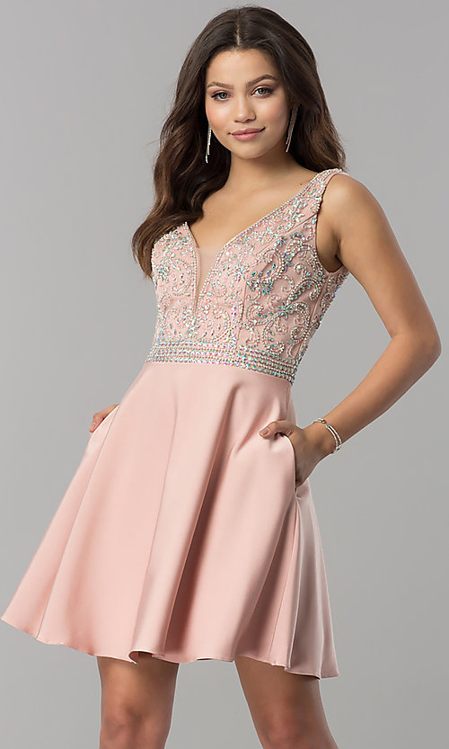 Image of short v-neck homecoming dress with jeweled bodice. Style: FB-GS2411 Front Image