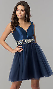 A-Line Beaded-Waist Elizabeth K Short Prom Dress
