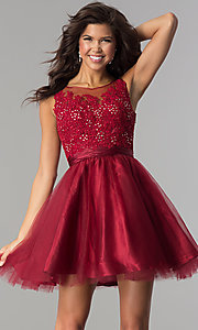 Lace-Applique-Bodice Tulle Short Party Dress