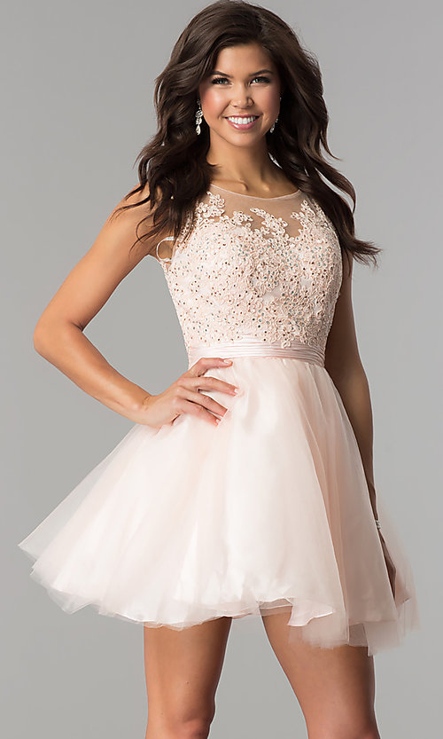 Image of lace-applique-bodice tulle short party dress. Style: FB-GS2414 Detail Image 1