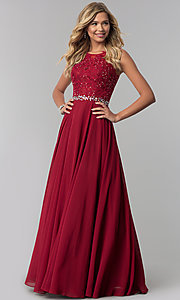 Image of lace-applique chiffon long prom dress. Style: FB-GL2417 Detail Image 1
