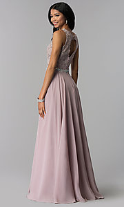 Image of lace-applique chiffon long prom dress. Style: FB-GL2417 Detail Image 7