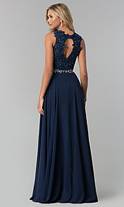 Image of lace-applique chiffon long prom dress. Style: FB-GL2417 Back Image