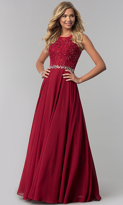 Image of lace-applique chiffon long prom dress. Style: FB-GL2417 Detail Image 3