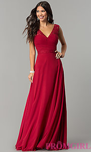 Image of ruched-bodice v-neck long formal prom dress. Style: FB-GL2363 Front Image