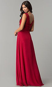 Image of ruched-bodice v-neck long formal prom dress. Style: FB-GL2363 Back Image