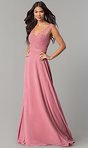 Image of ruched-bodice v-neck long formal prom dress. Style: FB-GL2363 Detail Image 2