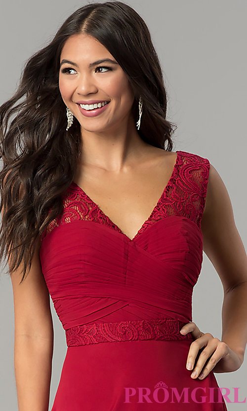 Image of ruched-bodice v-neck long formal prom dress. Style: FB-GL2363 Detail Image 1