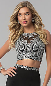 Image of long two-piece mermaid prom dress with back cut out. Style: FB-GL2419 Detail Image 1