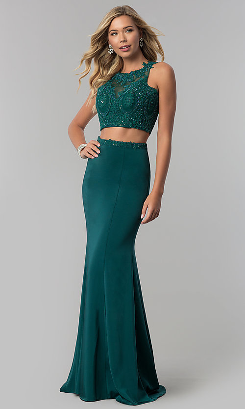 Image of long two-piece mermaid prom dress with back cut out. Style: FB-GL2419 Detail Image 3