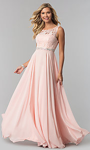 Image of long chiffon prom dress with lace-illusion bodice. Style: FB-GL2420 Detail Image 1