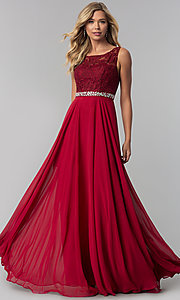 Image of long chiffon prom dress with lace-illusion bodice. Style: FB-GL2420 Detail Image 2