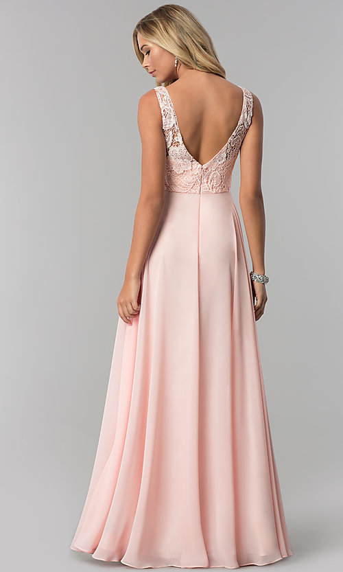 Image of long chiffon prom dress with lace-illusion bodice. Style: FB-GL2420 Back Image
