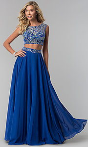 Twp-Piece Bateau Neck Embellished Top Long Prom Dress