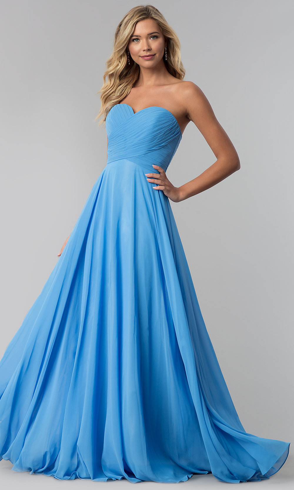 Cheap Satin Long Prom Dress with Corset Back -PromGirl