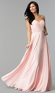 Image of long strapless sweetheart prom dress with corset. Style: FB-GL2425 Detail Image 3