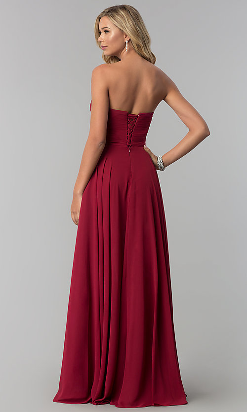 Image of long strapless sweetheart prom dress with corset. Style: FB-GL2425 Back Image