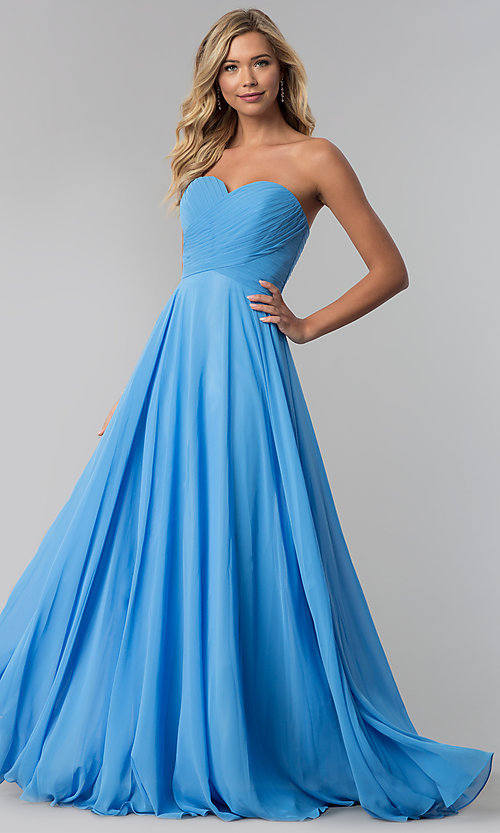 Image of long strapless sweetheart prom dress with corset. Style: FB-GL2425 Detail Image 1