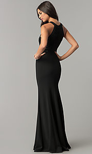 Image of long black prom dress with high-neck lace bodice. Style: MCR-2193 Back Image