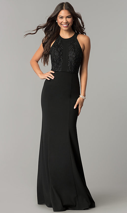 Image of long black prom dress with high-neck lace bodice. Style: MCR-2193 Front Image