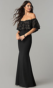 Long Off-the-Shoulder Prom Dress with Glitter Flounce