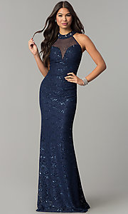 Image of long illusion-sweetheart navy blue lace prom dress. Style: MCR-2239 Front Image
