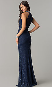 Image of long illusion-sweetheart navy blue lace prom dress. Style: MCR-2239 Back Image