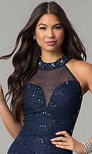 Image of long illusion-sweetheart navy blue lace prom dress. Style: MCR-2239 Detail Image 1