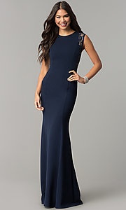 Image of long fitted navy prom dress with sequin-mesh panels. Style: MCR-2245 Detail Image 1