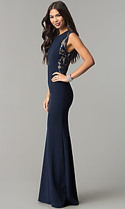 Image of long fitted navy prom dress with sequin-mesh panels. Style: MCR-2245 Front Image