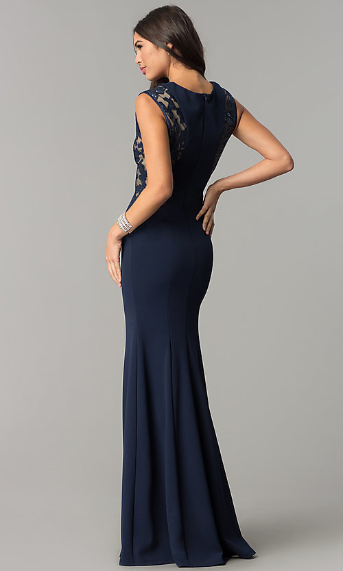 Image of long fitted navy prom dress with sequin-mesh panels. Style: MCR-2245 Back Image