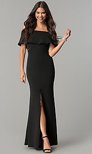 Long Off-the-Shoulder Flounce Formal Prom Dress
