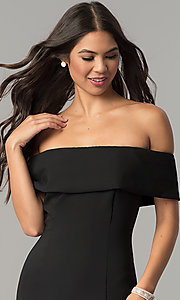 Image of long off-the-shoulder princess-cut prom dress. Style: MCR-2290 Detail Image 1