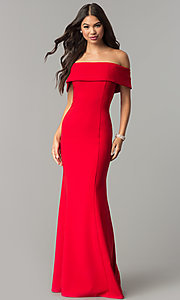 Image of long off-the-shoulder princess-cut prom dress. Style: MCR-2290 Detail Image 2