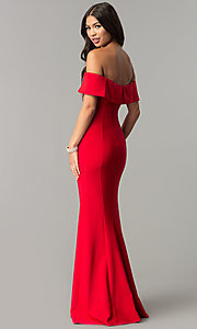 Image of long off-the-shoulder princess-cut prom dress. Style: MCR-2290 Detail Image 3