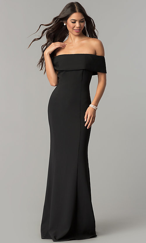 Image of long off-the-shoulder princess-cut prom dress. Style: MCR-2290 Front Image