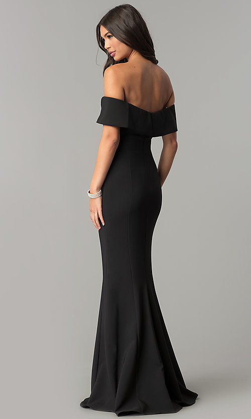 Image of long off-the-shoulder princess-cut prom dress. Style: MCR-2290 Back Image