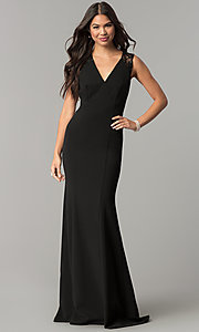 Long V-Neck Empire-Waist Prom Dress with Sequins