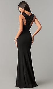 Image of long v-neck empire-waist prom dress with sequins. Style: MCR-2229 Back Image