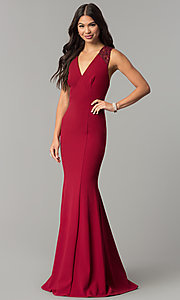Image of long v-neck empire-waist prom dress with sequins. Style: MCR-2229 Detail Image 2